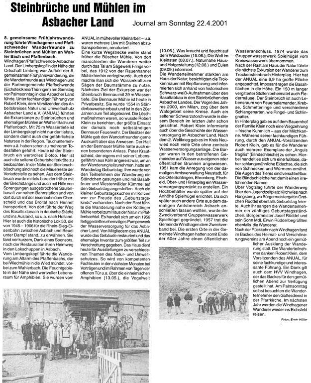 Journal am Sonntag 22.4.2001