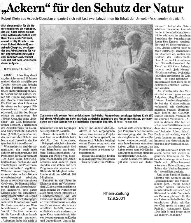 Rhein-Zeitung 12.9.2001