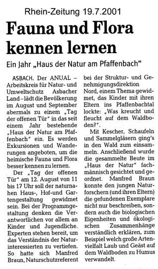 Rhein-Zeitung 19.7.2001