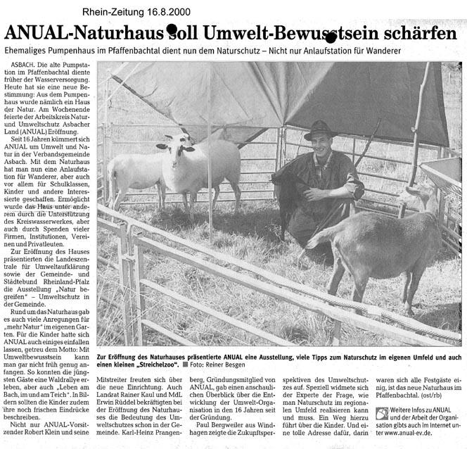 Rhein-Zeitung 16.8.2000