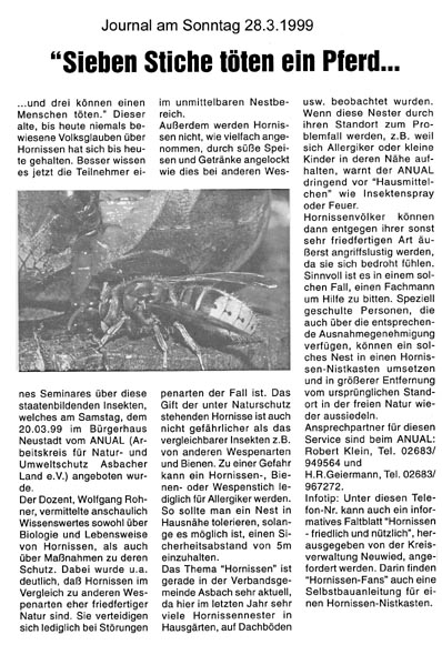 Journal am Sonntag 28.3.1999