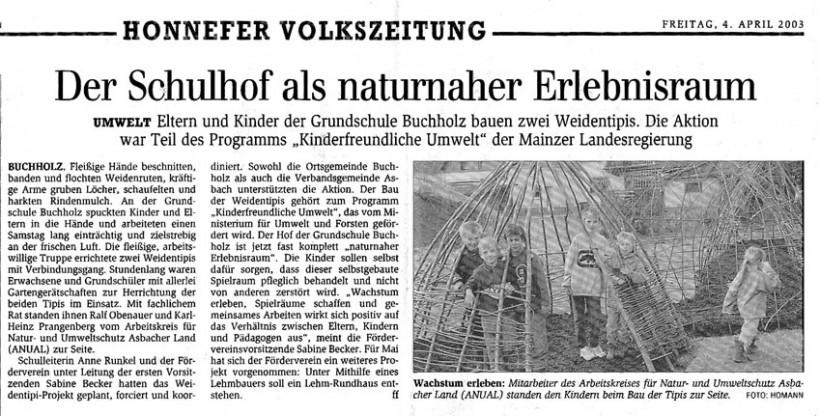 Honnefer Volkszeitung 4.4.2003