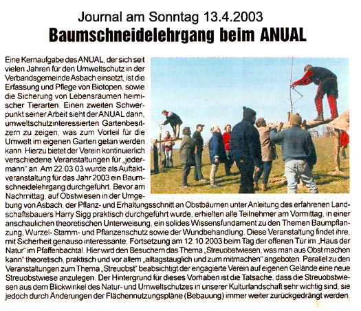 Journal am Sonntag 13.4.2003