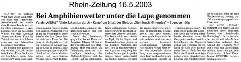 Rhein-Zeitung 16.5.2003