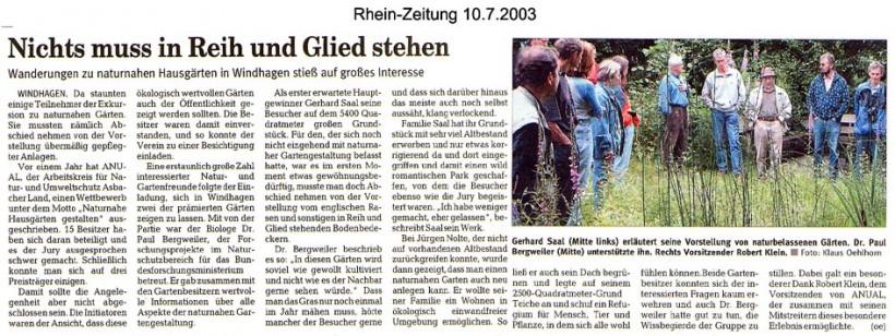 Rhein-Zeitung 10.7.2003