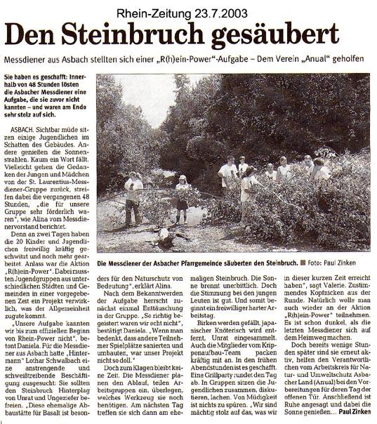 Rhein-Zeitung 23.7.2003