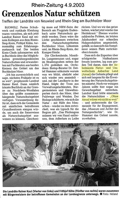 Rhein-Zeitung 4.9.2003