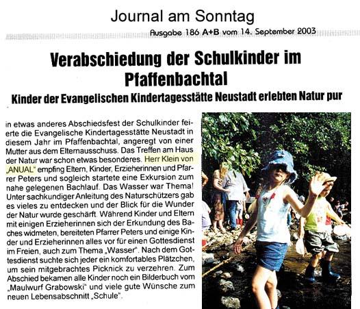 Journal am Sonntag 14.9.2003