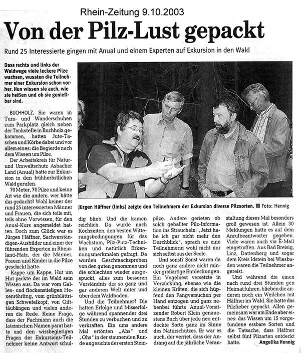 Rhein-Zeitung 9.10.2003