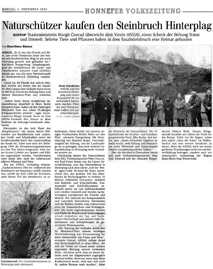 Honnefer Volkszeitung 3.11.2003
