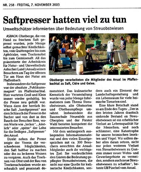 Rhein-Zeitung 7.11.2003