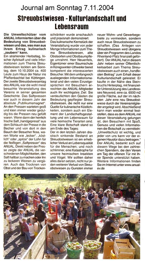 Journal am Sonntag 7.11.2004