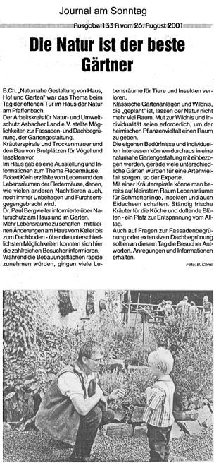 Journal am Sonntag 26.8.2001