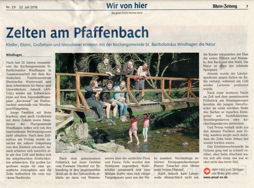 Rheinzeitung vom 22.7.2016