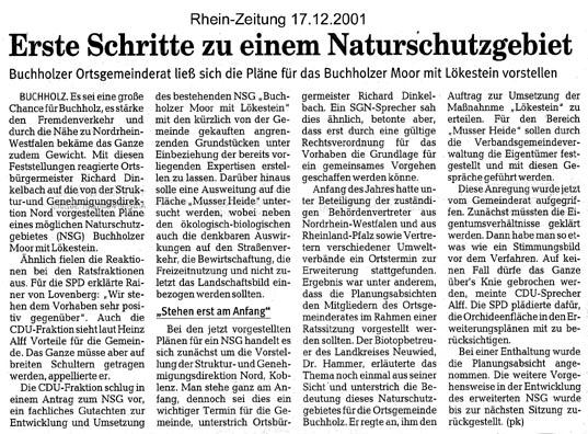 Rhein-Zeitung 17.12.2001