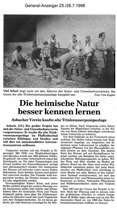 General-Anzeiger 25./26.7.1998