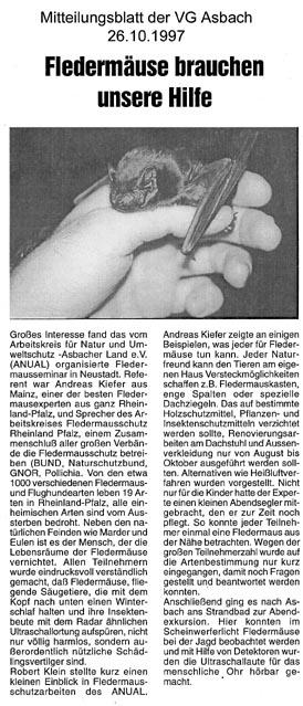 Mitteilungsblatt der VG Asbach 26.10.1997
