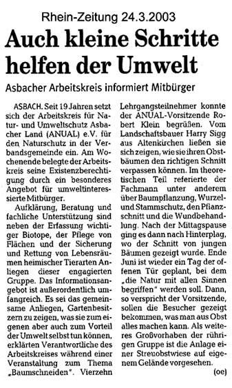 Rhein-Zeitung 24.3.2003