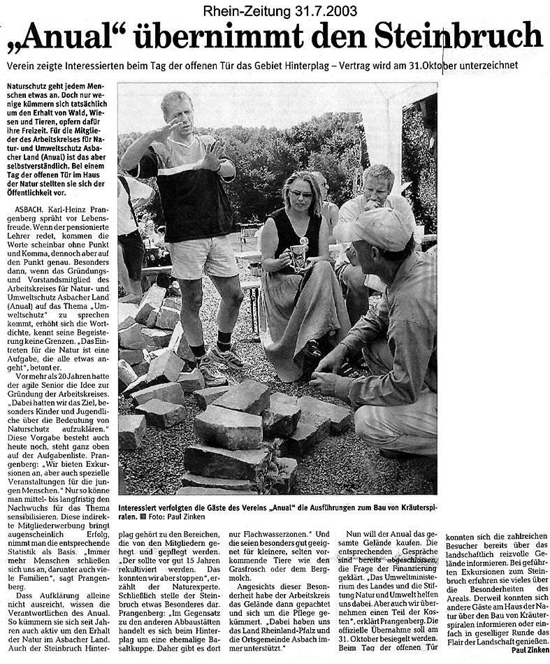 Rhein-Zeitung 31.7.2003