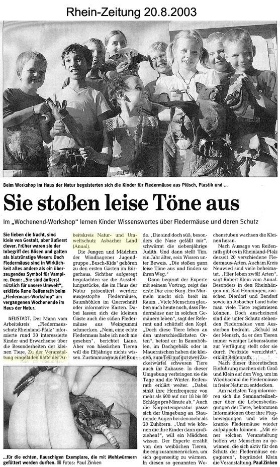 Rhein-Zeitung 20.8.2003