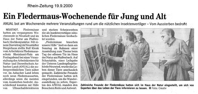 Rhein-Zeitung 19.9.2000