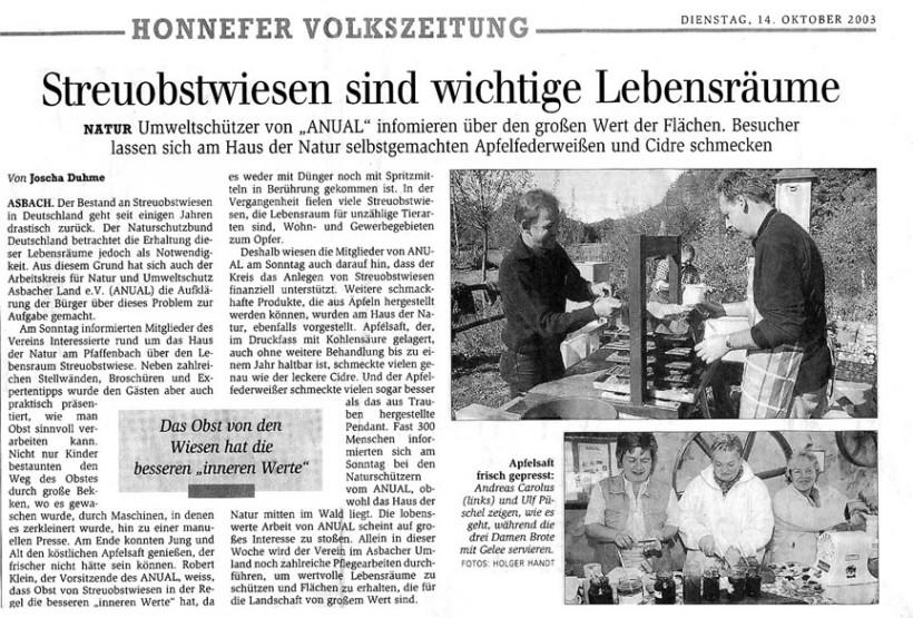 Honnefer Volkszeitung 14.10.2003