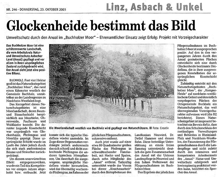 Rhein-Zeitung 23.10.2003