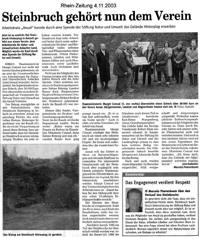 Rhein-Zeitung 4.11.2003