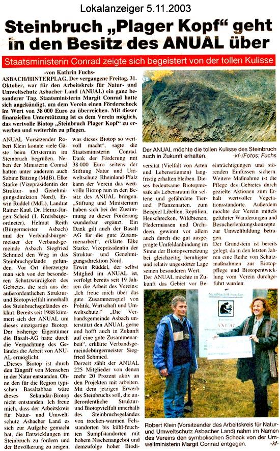 Lokalanzeiger 5.11.2003