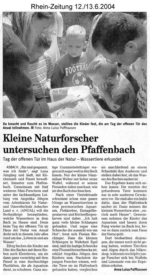 Rhein-Zeitung 12/13.6.2004