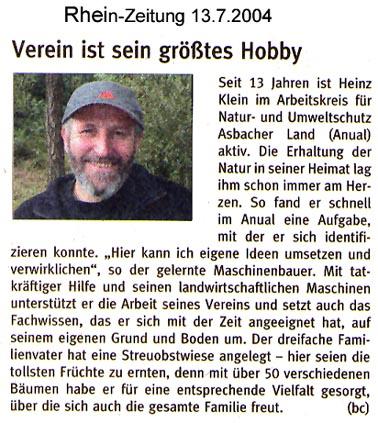 Rhein-Zeitung 13.7.2004