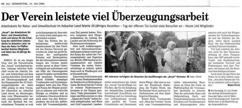 Rhein-Zeitung 15.7.2004