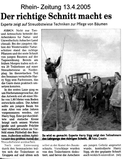 Rhein-Zeitung 13.4.2005