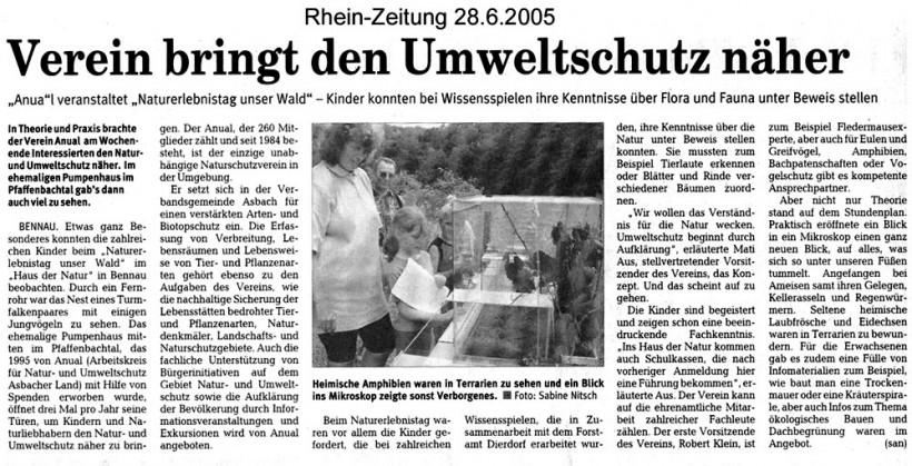 Rhein-Zeitung 28.6.2005