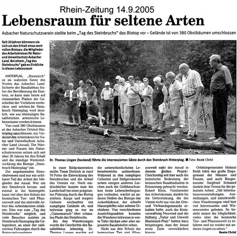 Rhein-Zeitung 15.9.2005