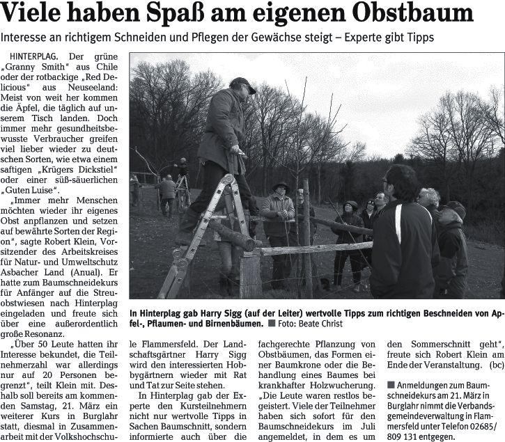 Rhein-Zeitung 17.3.2009