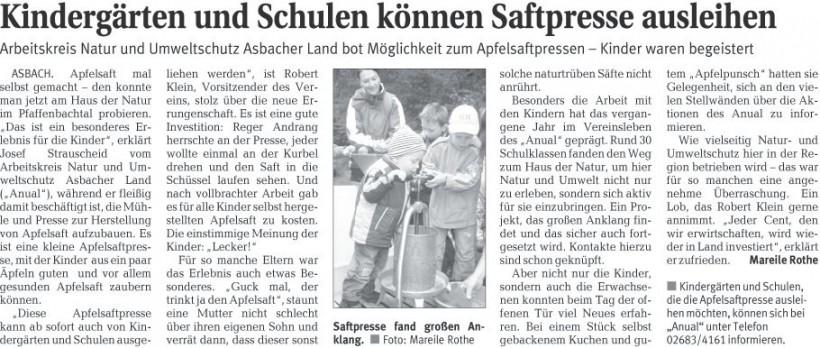 Rhein-Zeitung 13.10.2009