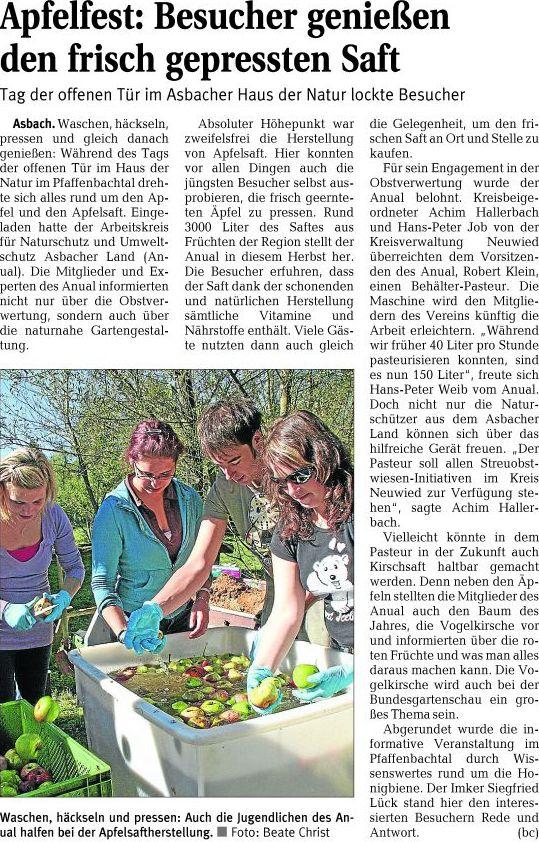 Rhein-Zeitung 12.10.2010
