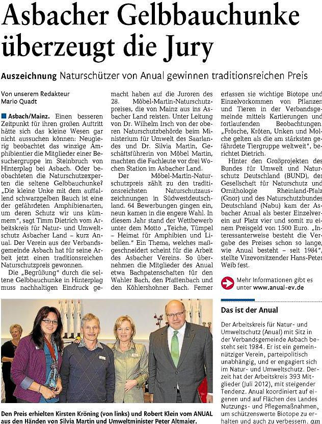 Rhein-Zeitung 13.10.2012