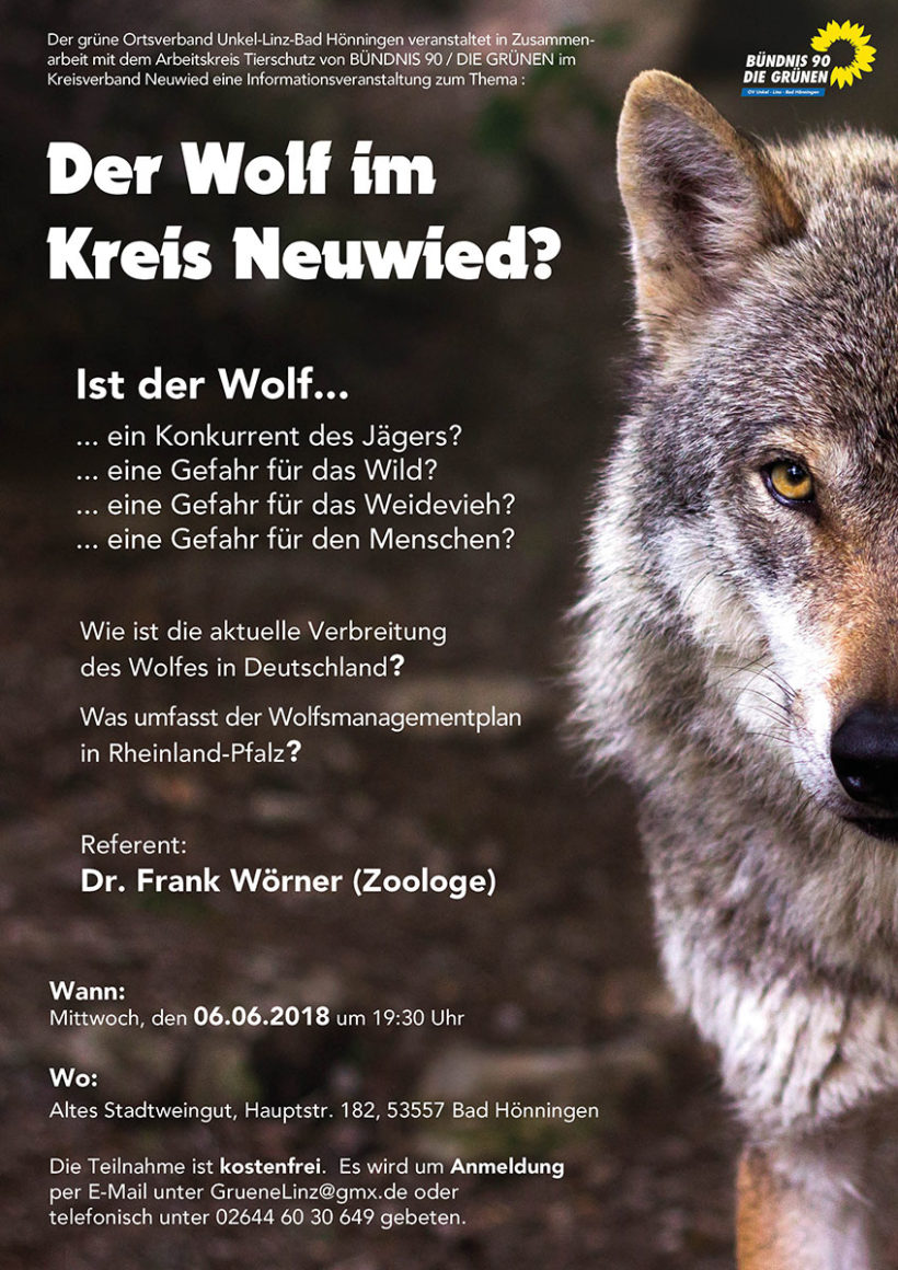Der Wolf im Kreis Neuwied – Veranstaltung am 6.6.2018
