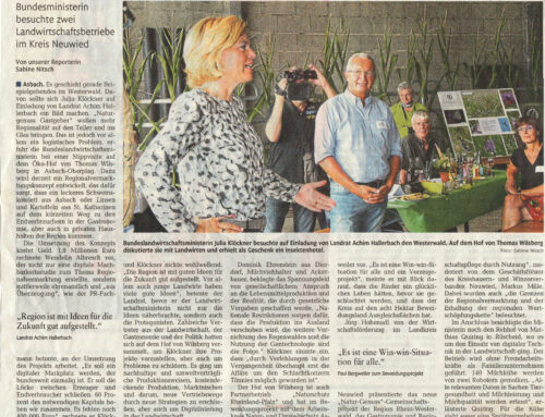 Rhein-Zeitung 24.8.2020 – Pilotprojekt begeistert Julia Klöckner