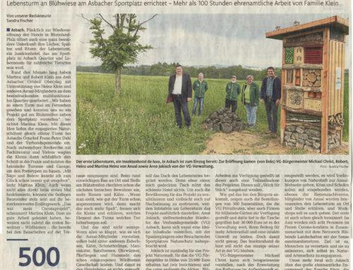 Rhein-Zeitung 1.6.2021 – »Insektenhotel de Luxe« ist zum Einzug bereit